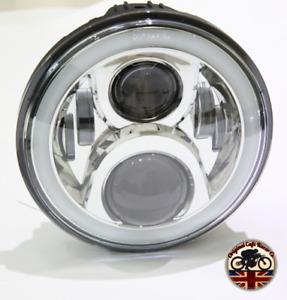 "Motorbike Cafe Racer CREE LED Headlight Chrome 7"" 50W E MARKED - DRL HALO 750AC"
