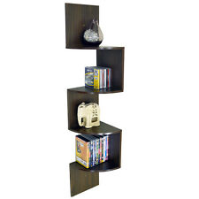 MOAR - Large Wall Mounted Curved Corner Storage Shelf - Walnut ST150003