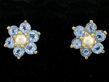 E058- Genuine 9ct Yellow Gold Natural Topaz & Pearl Blossom Daisy Stud Earrings