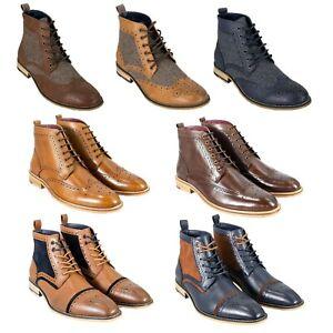 Mens Cavani Leather Peaky Blinders Tweed Brogue Lace Boots Shoes Casual Footwear