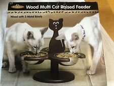Pet Store Wood Multi-Cat Raised Feeder with 3 Metal Bowls,