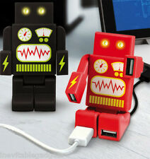 RoboHub 2000 Robot USB Hub with 4 USB Ports LED Light Eyes Red Gadget Gift