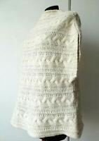 Maglione donna beige intrecciato pullover PAPINI smanicato M L senza maniche
