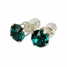 Sterling Silver 6mm Emerald Green Stud Earrings Made With Crystal From SWAROVSKI