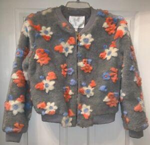Faux Fur Fuzzy Gray Salmon Blue Floral Jacket Tibi Collection Sz Small NWT