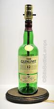 GLENLIVET SCOTCH WHISKEY Liquor Bottle TABLE LAMP Light w/ Wood Base Bar Lounge