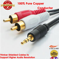 5m 3.5mm Plug Jack to 2 RCA twin Male Stereo Phono Audio Cable Lead PC OFC Gold