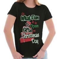 Oh What Fun Christmas Holiday Santa Claus Womens Short Sleeve Ladies T Shirt