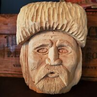 Vintage 9 inch Hand Carved Wood Folk Art Mountain Man Face for mantle or wall