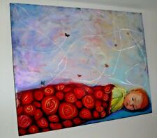 Portrait Oil Painting Baby W/ Red Hair Surrounded W/Butterflies Whimsical Signed