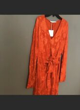 NWT ZARA Trafaluc Small Orange Kimono Jaquard Long Knot Dress Long Sleeve