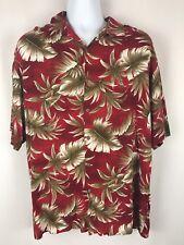 Campia Moda Men's Hawaiian Shirt Red Palm Leaf Size XL 100% Rayon   EUC