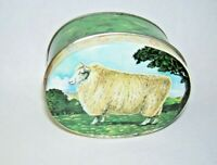 Small Round Tin Box with Large Ram on Lid 1985 Made in England