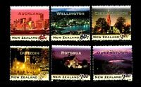 1995 New Zealand Cities By Night, Full Set of 6 Stamps, FU