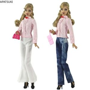 """Pink Clothes Set For 11.5"""" 1/6 Doll Outfits Shirt Blouse Top White Pants Purse"""