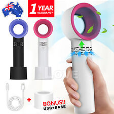 360 Degrees Portable Bladeless Hand Held Cooler Mini USB No Leaf Handy Fan OZ