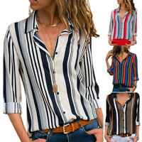 US Seller Women Ladies Long Sleeve Striped Lapel T-Shirt Blouse Casual Shirt Top