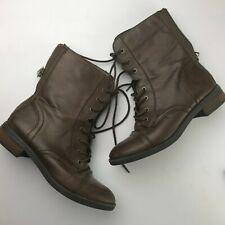 Bongo Combat Boots Faux Leather Brown Back Zipper Tie Women 8M