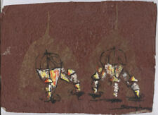 Original Ink and Oil with Bodhi Leaf   Elephants       Vientiane Laos       BL30