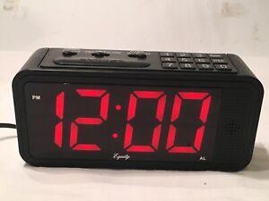 Large LED Digital Alarm Clock Equity Intertek La Crosse 75905 Dimmable Quick Set