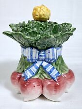 Fitz Floyd Classics Ceramic Vegetable Bowquet Canister Cookie Jar Radishes & Bow
