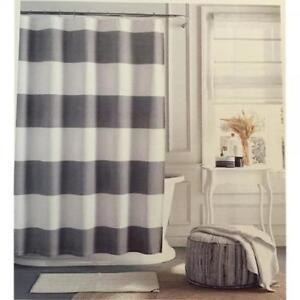 """TOMMY HILFIGER Shower Curtain CABANA STRIPE Seersucker 72"""" X 72"""" GRAY WHITE NEW"""