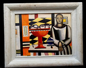 1950s SPANISH ABSTRACT /SURREALIST OIL PAINTING COMPOSITION OF FIGURE signed F.L