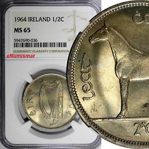 Ireland Republic Copper-Nickel 1964 1/2 CROWN Horse NGC MS65 GEM BU KM# 16a (36)