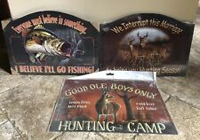 (3) Hunting & Fishing Metal & Wood Signs Man Cave Cabin NEW Funny