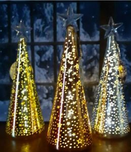 LED large Glass Gold Christmas Tree Cone.