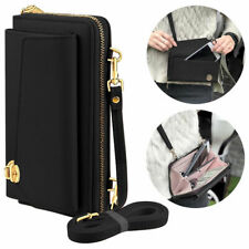 Leather Clutch Wallet Crossbody Purse with Cell Phone Compartment - Black