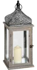 Large Wooden Lantern with Ornate Silver Fretwork Top