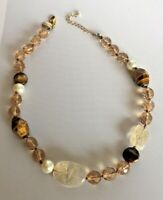 White House Black Market Faceted Glass Bead, Tigereye gold tone Chain Necklace