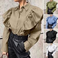 UK Women Long Sleeve Loose Tops Work Office Plain Shirt Casual Blouse Basic Tee