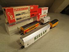 4x Fleischmann 1477 5022 5046 Großraumgüterwagen Bierwagen Güterwagen  H0