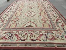 Vintage Hand Made French Design Wool Green Brown Original Aubusson 427X306cm