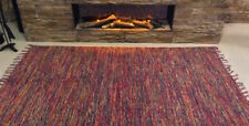 Eco Friendly MULTI COLOURED Funky Recycled Cotton Rich Washable Durrie Kilim Rug