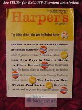 HARPER'S October 1964 GEORGE PLIMPTON ALBERT BERMEL JEAN-PAUL SARTRE