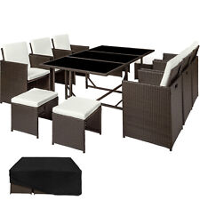 Set di mobili da giardino poli rattan arredamento 6 Sedie 4 Sgabelli 1 Tavolo ma