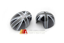 Black Union Jack UK Flag Side View Mirror Cover Caps for BMW Mini Cooper F55 F56