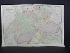 Map of Switzerland George F. Cram 1901 Double Page #11