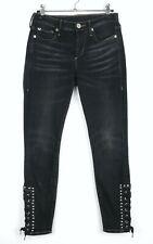 True Religion Halle Damen Jeans Gr 25 mid rise super skinny Nieten Dunkelblau