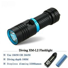 Powerful LED Flashlight Diving Lamp Cree XM L2 Underwater Torch Scuba Lanterna