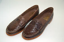 WOMAN-DONNA -36- PENNY LOAFER - BROWN GENUINE OSTRICH-STRUZZO MARRONE-LTH SOLE
