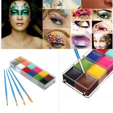 12 Colors Face Body Paint Set/Kit Halloween Makeup Fancy Painting + 4 Brushes