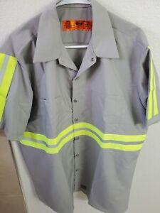 Red Kap Men's Performance Tech 2 Piece Lined Collar Shirt Gray w/Yellow Stripes