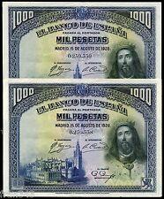 PAREJA BILLETES 1000 Pesetas 1928 San Fernando EBC / Spain pick 78