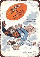 "1957 Chicago Bears vs Detroit Lions Program Rustic Retro Metal Sign 8"" x 12"""