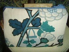 21cm x 14cm  ZIPPED CLUTCH BAG SCHUMACHER CHINA BLUE CHIANG MAI DRAGON LINEN