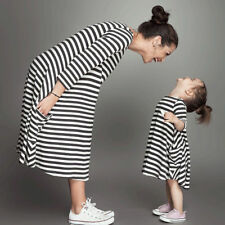 Family Clothing Matching Mom And Daughter Kid Clothes Striped Dresses Outfits UK